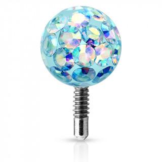 Boule piercing shamballa à tige filetée - Aqua aurore boréale