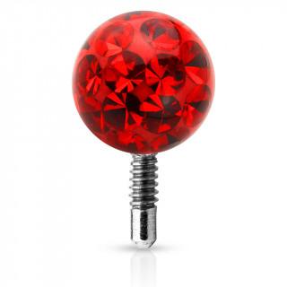 Boule piercing shamballa à tige filetée - Rouge