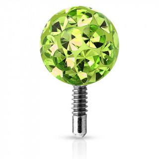 Boule piercing shamballa à tige filetée - Vert