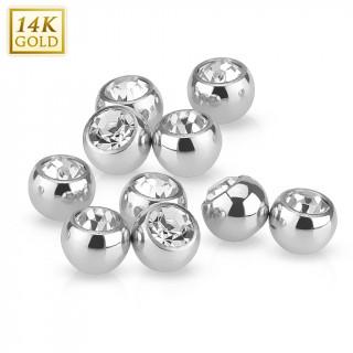 Boule sertie pour piercing en or blanc 14 carats (remplacement)