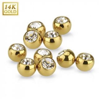 Boule sertie pour piercing en or jaune 14 carats (remplacement)