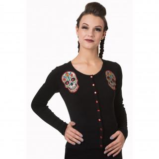 Cardigan femme goth-rock Banned noir à cranes de sucre rouges