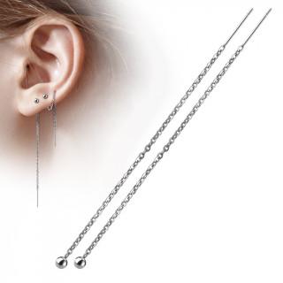 Chaines d'oreilles en acier à barre et boule suspendues (paire)