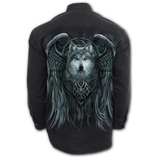 """Chemise """"Esprit du loup"""" avec loup à ailes d'ange"""
