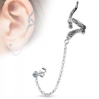 Clou serti à tour d'oreille en forme de serpent (unité)