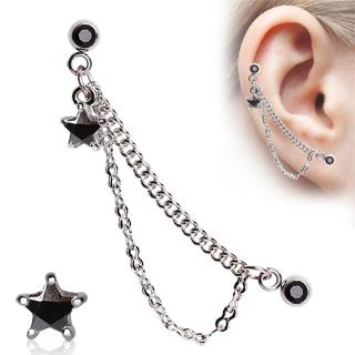 Double piercing cartilage à chaines et étoile strass - noir