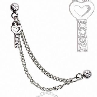 Double piercing cartilage clé strass à chaines