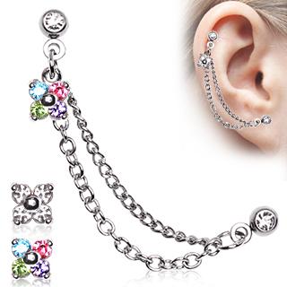 Double Piercing (cartilage et lobe) à chaines et fleur