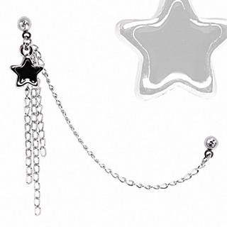 Double piercing cartilage étoile noire à chaines