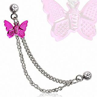 Double piercing cartilage oreille papillon violet à chaines
