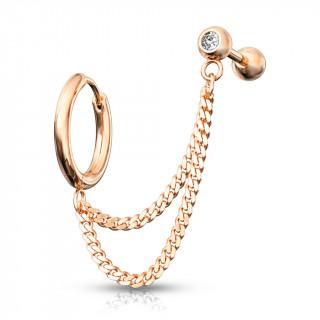 Double piercing d'oreille anneau clip et barbell strass enchainés - Cuivré