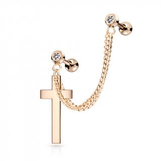 Double piercing d'oreille boules strass et croix à chaine - Cuivré