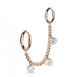 Double piercing oreille à anneaux et zirconiums enchainés - Cuivré