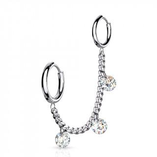 Double piercing oreille à anneaux et zirconiums enchainés - Inox