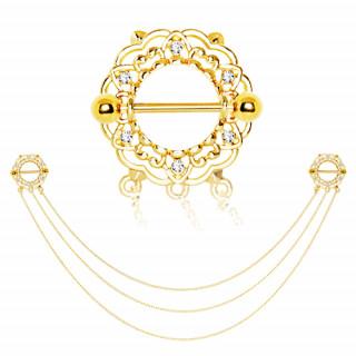 Double piercing téton doré style bouclier floral à triple chaine