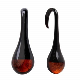 Ecarteur goutte suspendue en verre noir et ambré