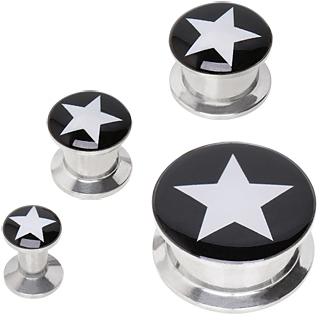 Ecarteur plug acier à étoile rock sur fond noir