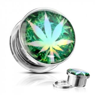 Ecarteur plug acier feuille de cannabis holographique