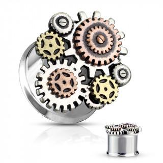 Ecarteur plug acier Steampunk à engrenages
