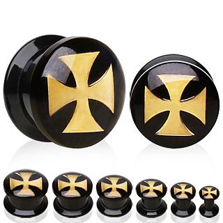Ecarteur plug acrylique nacré à croix de Malte dorée