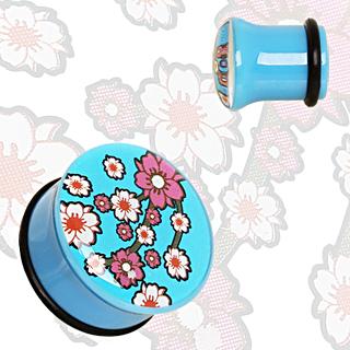 Ecarteur plug bleu à fleurs de cerisier