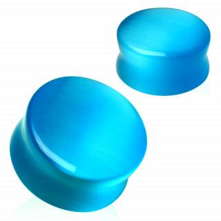 Ecarteur plug bleu en pierre Oeil de chat