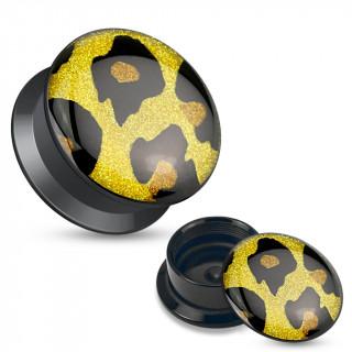 Ecarteur plug boite jaune et noir en acrylique à motif pailleté léopard