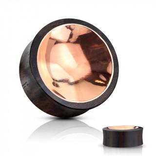 Ecarteur plug en bois à centre concave cuivré