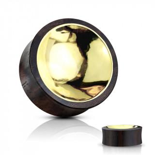 Ecarteur plug en bois doré au centre