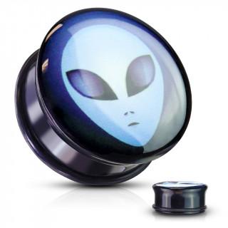 Ecarteur plug noir à Extra-terrestre Roswell en acrylique