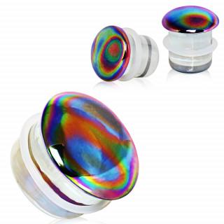 Ecarteur plug silicone à face en verre aurore boréale