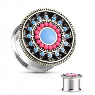 Ecarteur plug style Aztèques à soleil émaillé bleu et rouge