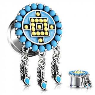Ecarteur plug style Aztèques bleu et jaune à plumes