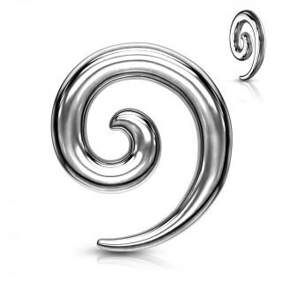Ecarteur spirale en acier argenté à finition miroir