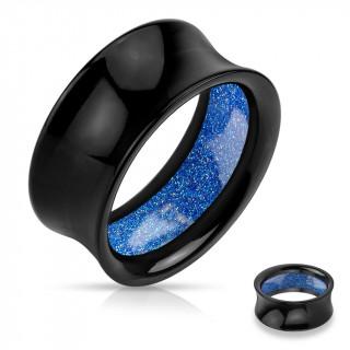 Ecarteur tunnel acrylique noir à intérieur pailleté bleu