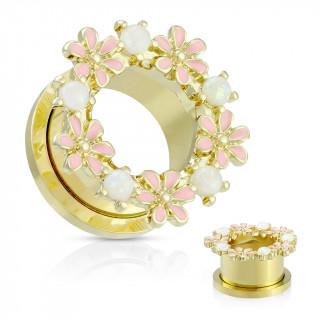 Ecarteur tunnel doré à couronne de fleurs