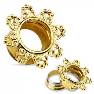 Ecarteur tunnel doré en acier entouré de coeurs perlés en laiton