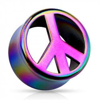 Ecarteur tunnel en acrylique nuancé arc en ciel avec symbole Peace