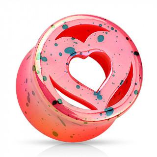 Ecarteur tunnel en acrylique rose tacheté noir avec double-coeur