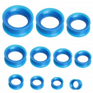 Ecarteur tunnel en silicone bleu aspect nacré