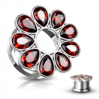 Ecarteur tunnel fleur zirconium rouge rubis