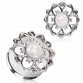 Ecarteur tunnel à fleur zircons et Opale