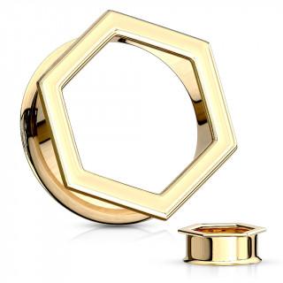 Ecarteur tunnel hexagonal doré en acier