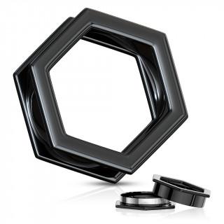 Ecarteur tunnel hexagonal noir dévissable en acier