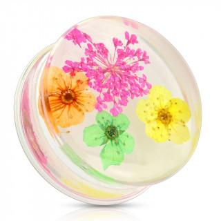 Ecarteur type plug avec bouquet de fleurs rose, orange, vert et jaune