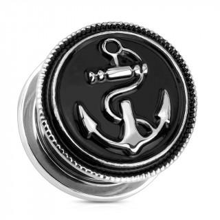 Ecarteur type plug en acier noirci avec ancre de marine vintage