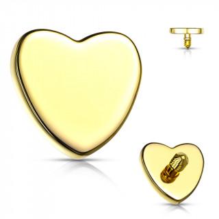 Embout de piercing Coeur Doré en acier (pour tige filetage interne)