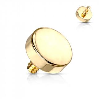 Embout de piercing disque doré en acier (pour tige filetage interne)