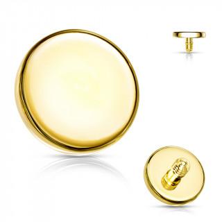 Embout disque de piercing Doré en acier (pour tige filetage interne)