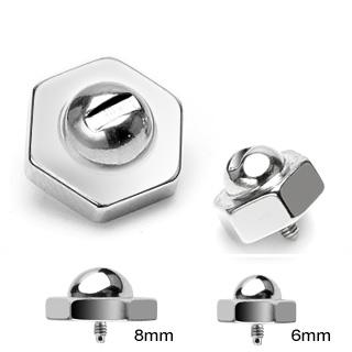 Embout écrou en acier pour piercing microdermal